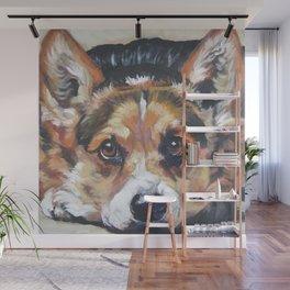 Pembroke Welsh Corgi dog art portrait from an original painting by L.A.Shepard Wall Mural