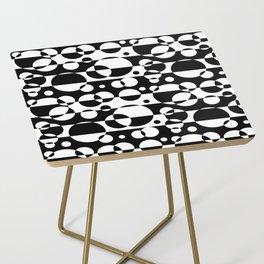 Black White Geometric Circle Abstract Modern Print Side Table