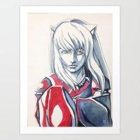 inuyasha Art Prints featuring Hanyou- InuYasha Fanart by Audrey Bocchini