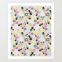 bees Art Prints featuring Bees by Yellow Button Studio