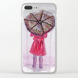 Girl in Purple Wellies Clear iPhone Case