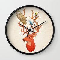antlers Wall Clocks featuring Antlers by Jonathan Sims