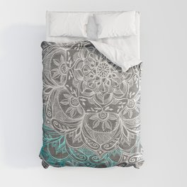 Turquoise & White Mandalas on Grey Comforters