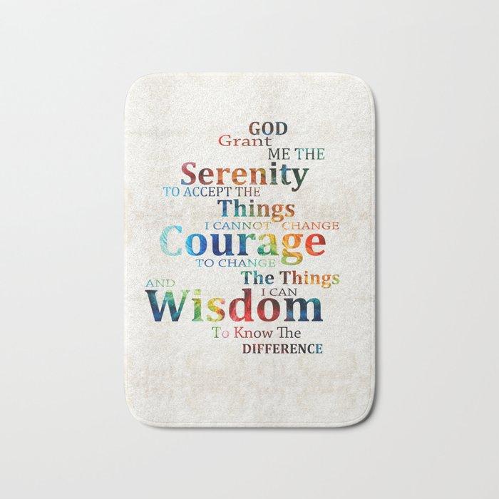 Colorful Serenity Prayer by Sharon Cummings Bath Mat