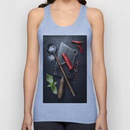 Vintage cutlery and fresh ingredients Unisex Tank Top