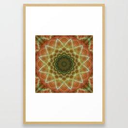 Mandala fractal flower orange Framed Art Print
