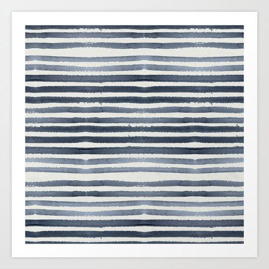 Simply Shibori Stripes Indigo Blue on Lunar Gray Art Print