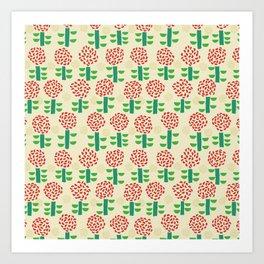 Paper cut flower pattern Art Print