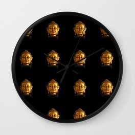 Budhha Golden Head by Lika Ramati Wall Clock