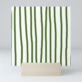 Simply Drawn Vertical Stripes in Jungle Green Mini Art Print