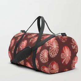 Realistic easter red dyed eggs pysanka Duffle Bag
