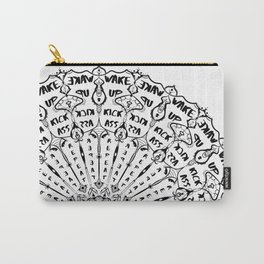 Wake up, Kick A**, Repeat - Black and White Mandala Carry-All Pouch
