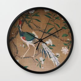 Antique French Chinoiserie in Tan & White Wall Clock