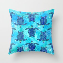 Watercolor Sea Turtles Mandalas Pattern Throw Pillow