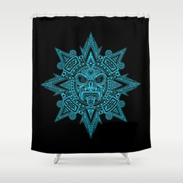 Ancient Blue and Black Aztec Sun Mask Shower Curtain