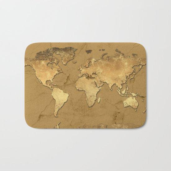world map marble gold 3 Bath Mat
