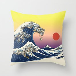The Great Wave Of  Cat Throw Pillow