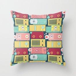 Turn the vintage radios on Throw Pillow