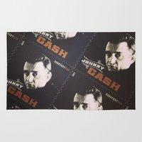 johnny cash Area & Throw Rugs featuring Johnny Cash Stamps by ADH Graphic Design