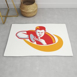Table Tennis Player Serving Mascot Rug