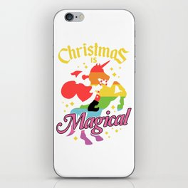 Christmas Is Magical Santa Claus Riding Unicorn Funny Holiday iPhone Skin