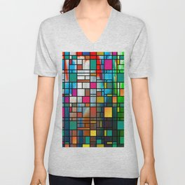Abstract Modern Art Grid Pattern Unisex V-Neck
