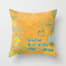 Color Outside The Lines Throw Pillow