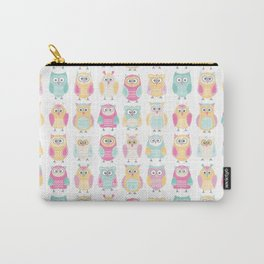 Pastel Owls in a Row - Owls Pattern - for owl Carry-All Pouch