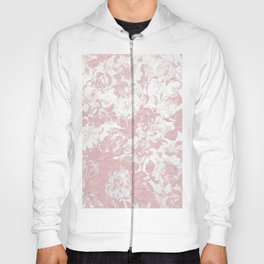 Girly trendy pink coral white lace floral Hoody