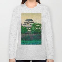 Kawase Hasui Vintage Japanese Woodblock Print Nagoya Castle Long Sleeve T-shirt
