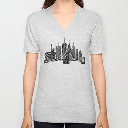 Linocut New York Unisex V-Neck