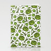 vegetables Stationery Cards featuring Green Vegetables by Alisa Galitsyna