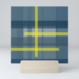 Blue and yellow plaid pattern Mini Art Print