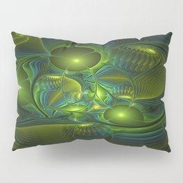 Luminous Abstract Fractal Art, A Blue Green Fantasy Pillow Sham