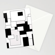 Squares - gray, black and white Stationery Cards