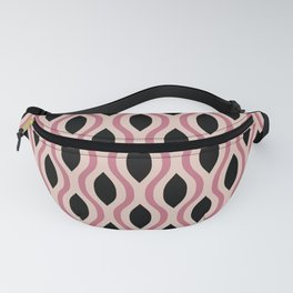 Retro Ogee Pattern 452 Dusty Rose and Black Fanny Pack
