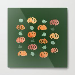 Pumpkins with Leaves on Green Metal Print