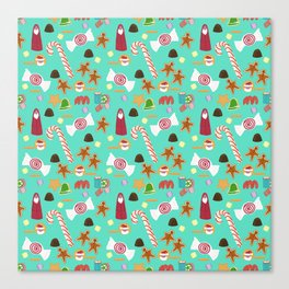 Christmas Sweeties Candies, Peppermints, Candy Canes and Chocolates on Aqua Canvas Print