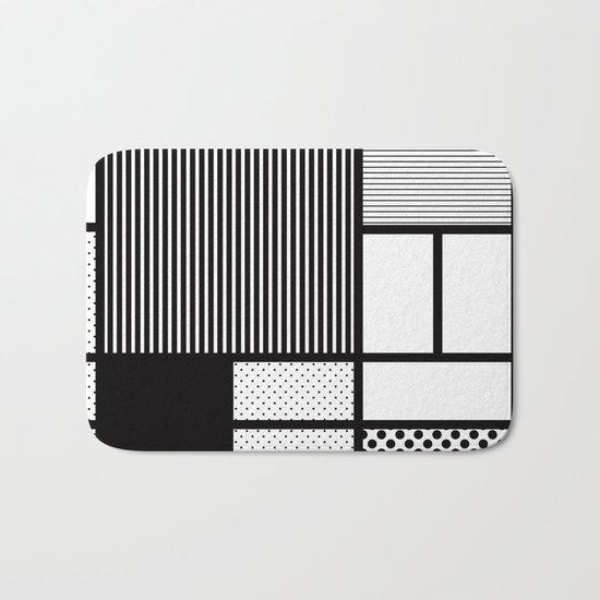 Composition With Black, Dots, Stripes & Black Bath Mat