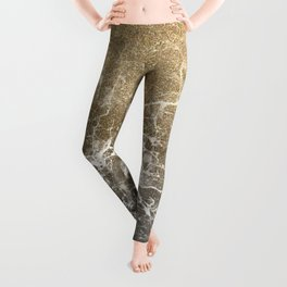 Vintage black white gold glitter marble Leggings