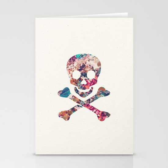 Pink Teal Vintage Floral Pattern Skull Cross Bones Stationery Cards
