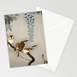 Sparrows and wisteria flower - Vintage Japanese Woodblock Print Art Stationery Cards