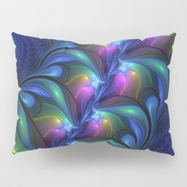 Colorful Luminous Abstract Blue Pink Green Fractal Pillow Sham
