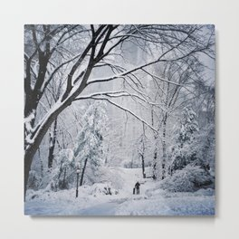 A man walking his dog in a snow covered Central Park Metal Print