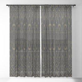 Gold Multi Chevron Pattern Design Sheer Curtain