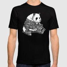Panda Chillin Mens Fitted Tee Black MEDIUM