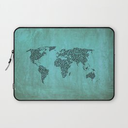 Teal Star World Map Laptop Sleeve