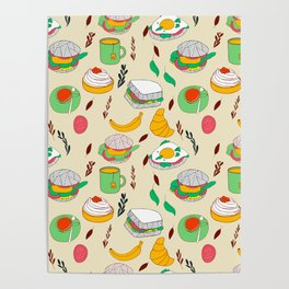 Breakfast & Lunch Food Collage Poster