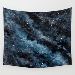 Cloudy Night Sky With Stars Wall Tapestry