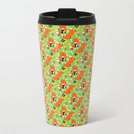 A pair of foxes on field. One stretches, the other licks his paw.  Travel Mug